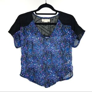 ANTHRO staring at stars sheer floral crop blouse s